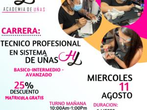 CARRERA COMPLETA TECNICO PROFESIONAL EN SISTEMA DE UÑAS HL